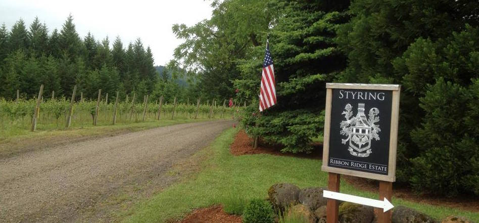 Entrance to Styring Vineyards, Newberg, OR, displaying the American Flag