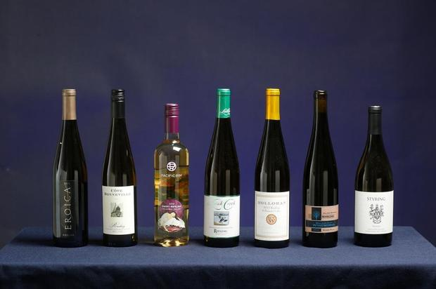 Seven bottles of Pacific Northwest Riesling Wines